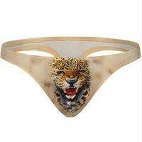 ingrosso corti pantaloni-3D U Slip convesso Uomo modello animale Sacchetto rigonfio Jock Cinghie perizoma Tanga Vita bassa Biancheria intima traspirante Pantaloncini hot