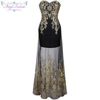 schwarzes trägerloses durchblick durch kleid großhandel-Angel-Fashions Vintage 1920's Strapless Embroidery See Through Lace Up Abendkleid vestidos de noche Schwarz 189