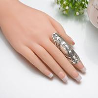 ingrosso nscd diamanti simulati-Vintage New Unique Punk Anelli Ethic Antique Silver Intagliato Long Joint Totem Armor Rings Gypsy Boho Jewelry B94