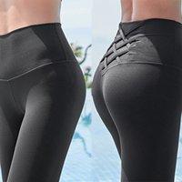 ingrosso donne che indossano pantaloni stretti di yoga-A vita alta pancia controllo Collant Leggins senza giunte delle donne di sport leggings per fitness sportivo palestra donna pantaloni di yoga Abbigliamento sportivo