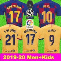 baro adam toptan satış-ERKEKLER + ÇOCUKLAR 2019 2020 Futbol Forması Barcelona Camisetas de Fútbol 19 20 Barca Messi DE JONG GRIEZMANN Rakitic Futbol Forması kitleri Setleri Üniforma
