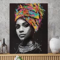 afrikanische kunst gemälde frauen großhandel-1 Stück Abstrakte Afrikanische Mädchen Mit Buchstaben Wandkunst Leinwand Moderne Pop Wand Graffiti Kunst Gemälde Schwarze Frau Cuadros Bild Kein Gestaltet