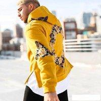 ingrosso felpa con cappuccio giallo-2018 Tuta Uomini fuori giallo bianco con cappuccio Felpe con cappuccio Mens Streetwear Felpa Hip Hop stampa Pullover Fleece Hoodie Moleton