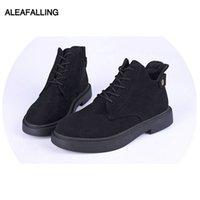 şirin dantel çizmeleri toptan satış-Aleafalling Kar Boots Flock Kız Sevimli Kadınlar Çizme Lace Up Moda Açık Zapatos Mujer Kız Sıcak Toka 35-40 WBT351