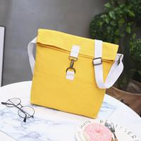 bolso de mujer amarillo al por mayor-JHD-Fashion Women Yellow + White Canvas Shoulder Bags Novelty Soft Color sólido Mujeres Estudiantes Bolsos escolares