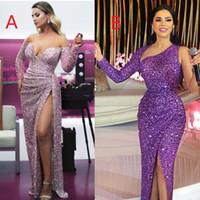 Wholesale sparkled dresses resale online - 2019 Purple Mermaid Evening Dresses One Shoulder Sequined African Black Girls Prom Dress Sparkling Evening Gowns Robe De Soiree Abendkleider
