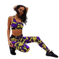 ingrosso vestiti da jogging-Pantaloni da donna Camouflage Pantaloni Tuta Due pezzi Abiti estivi Jogging Abbigliamento Tute da jogging Leggings sportivi Completi Set LJJA2349