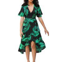 ingrosso vestito femme plus size-Abito in chiffon Wrap vestito floreale Boho Boemia Donne lungo Ruffle estate Beach abiti da donna Party Night 2019 Plus Size Robe Femme