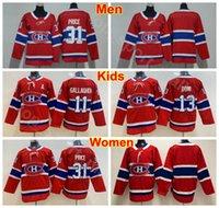 carey price çocuk formaları toptan satış-Erkekler Lady Çocuklar Montreal Canadiens 13 Gençlik Carey Fiyat Formaları Adam Kadınlar 13 Max Domi 11 Brendan Gallagher Buz Hokeyi Boş Formalar Kırmızı