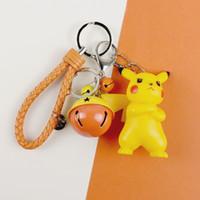 nuevas llaves de coche estilo al por mayor-Nuevos estilos de expresión de enojo Pikachu juguetes de la muñeca de 7 cm Figuras de Acción PVC de coincidencia de color de Bell Llavero regalo creativo del coche bolsa colgante L399