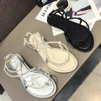 Wholesale black shoes low silver heels resale online - Goddess2019 Woman Sandals Xia Pingdi Rome Bandage Pinch Snakelike Wrap Rhinestone Zone Toe Beach Shoes