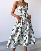 düğmeli askılar toptan satış-Kadın Giysileri Ayçiçeği Büyük Boy Çiçek Baskı Ananas Desen Baskı Tasarımcısı Elbise Askı Düğmesi Geri Seksi Elbise 33 Renk 6 Yard