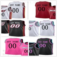 ingrosso top bianco baseball nero-Custom Printed MiamiHeatJerseys Top Quality Mens 2019 New Black White City Red Pink Jersey. Messaggio Qualsiasi numero e nome nell'ordine.