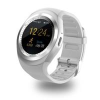 akıllı saat android senkronizasyonu toptan satış-Bluetooth Y1 Akıllı Saatler Reloj Relogio Android Smartwatch Telefon Görüşmesi SIM TF Kamera Sync Sony HTC Huawei Xiaomi HTC Için Android Telefon İzle
