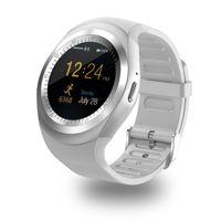 montre intelligente huawei achat en gros de-Bluetooth Y1 Montres intelligentes Reloj Relogio Android SmartWatch appel téléphonique SIM TF caméra Sync pour Sony HTC Huawei Xiaomi HTC montre téléphone Android