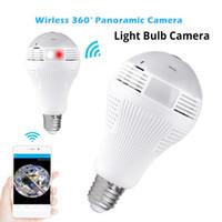 drahtlose fisheye kamera großhandel-Mini Wifi IP Kamera Wireless Panorama Home Security CCTV Fisheye-Birnen-Lampenlicht 360 Grad-Kameras
