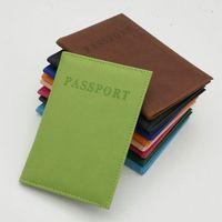 аксессуары для визитных карточек оптовых-Повседневная Искусственная кожа обложки для паспорта дорожные аксессуары ID Банк кредитной карты сумка Мужчины Женщины паспорт бизнес держатель бумажник чехол