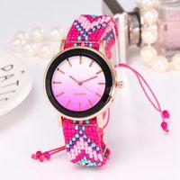 relógio de estilo único venda por atacado-Zhoulianfa Alloy Round Dial original estilo nacional tecido pulseira de relógio