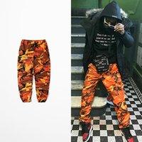 hommes portant des pantalons bas achat en gros de-Lay Bas Hip Hop Street Wear Pantalons De Danse Hommes Bib Overall Pants Ins Réseau Avec Bdu Pant High Street Camouflage