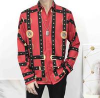 camisas de cuello alto slim fit al por mayor-2020 camisas de vestir de los hombres de Francia moda de la calle de Harajuku camisa de los hombres ocasionales de la medusa Negro Oro tigre leopardo de lujo del ajustado Camisas