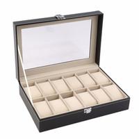 caixa de armazenamento bloqueada venda por atacado-Grade de couro pu caixa de relógio caixa de exibição caixa de organizador de armazenamento de jóias caixas trancadas retro saat kutusu caixa para relogio