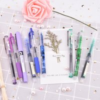 Wholesale kawaii highlighters resale online - 6pcs set Simplicity color Large Gel Pen set mm quick drying Straight Pen highlighter for school Stationery kawaii