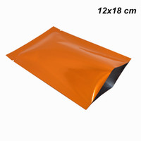Wholesale food grade vacuum bags for sale - Group buy 100pcs x18 cm Open Top Glossy Orange Mylar Foil Heat Sealed Food Grade Bag Aluminum Foil Vacuum Smell Proof Storage Pouch for Cookie Candy