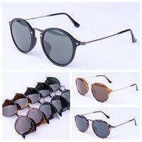 couro etc venda por atacado-Designer de óculos de sol redondo estilo homens mulheres óculos de sol de vidro lentes UV400 des lunettes de soleil estojo de couro original, acessórios, caixa, etc