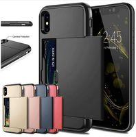 étui iphone carte de visite achat en gros de-Cas pour iPhone X XS Max XR Slide Armor portefeuille Slot titulaire de la couverture pour iPhone 7 8 Plus 6 6 s cas Samsung Galaxy S8 S9 S7 téléphone
