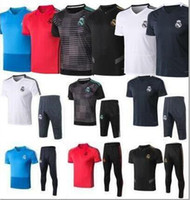 Wholesale short sleeve tracksuit top resale online - 2019 top quality Real Madrid Short sleeve polo shirt soccer training suit MODRIC MARCELO ASENSIO ISCO football shirt kit tracksuit