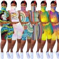 Wholesale animal print neck scarves resale online - Women Summer Cartoon printed Sunproof Face mask Scarf Crop Top Sleeveless Vest Shorts Set Designer Outfit absorbent Sports Suit D5805