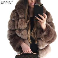 пальто с капюшоном для женщин оптовых-UPPIN Popular Shaggy Cardigan Faux Fur Coat with Hood Plus Size 2018 Winter  Fur Jacket Women Hooded Coats Girls Furs Jackets