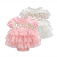 neugeborene mädchen brautkleider großhandel-Sommer Baby Mädchen Kleid Taufe für Neugeborene Baby Mädchen Kleidung Rosa Kinder Blumenkleider für Mädchen Hochzeit Baby Kleidung