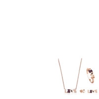altın kaplama delikli küpeler toptan satış-100% 925 Ayar Gümüş Kaplama 18 k Rose Gold AŞK Çok eleman Taş Aşk Kolye Yüzük Asimetrik Ayı Piercing Küpe