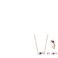 vergoldeten ohrringe großhandel-100% 925 Sterling Silber vergoldet 18 Karat Roségold Liebe Multi-Element Edelstein Liebe Halskette Ring asymmetrische Bär Piercing Ohrringe