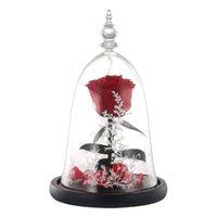 ingrosso petali di rosa rossa artificiali-San Valentino regalo Artificiale rosa rossa e petali di fiori di simulazione di luce Led Decorati petali in vetro per gli amanti delle nozze