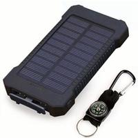 cargador de cilindro portátil al por mayor-Banco de energía solar superior A prueba de agua 20000 mAh Cargador solar Puertos USB Cargador externo Powerbank Smartphone con luz LED para xiaomi