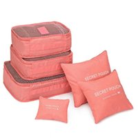 сетчатые мешки для одежды оптовых-6Pcs Waterproof Travel Storage Bags Clothes Packing Cube Luggage Organizer Pouch Nylon Mesh Zipper Solid Fashion Travel Bags