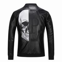 chaquetas de piel sintética biker al por mayor-2019 de alta calidad prendas de vestir exteriores de los hombres chaquetas de cuero cráneo con dibujos primavera invierno Biker motocicleta Faux Leather PU Coat para hombre