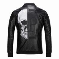 vestes en faux cuir motard achat en gros de-2019 haute qualité vêtements de dessus pour hommes vestes en cuir crâne à motifs printemps hiver Biker moto Faux cuir PU manteau pour homme