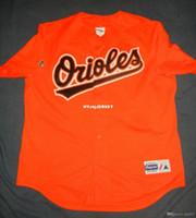 camisas de beisebol laranja em branco venda por atacado-jerseys barato BALTIMORE retro em branco Majestic Laranja Top Batting Practice malha Jersey Jones Mens costurado beisebol