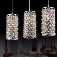 ingrosso lampada a sospensione in cristallo-Moderno cristallo dorato / cromato lucido LED cristallo lampadario E27 / 26 Lampadario Lampadario