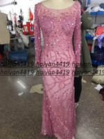 Wholesale prom art resale online - 2019 Luxury Arabic Mermaid Evening Dresses Sheer Neck Beading Crystal Illusion Long Sleeves Floor Length Plus Size Prom Party Gowns
