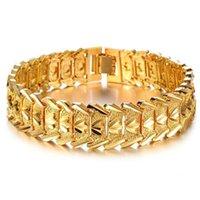 ingrosso braccialetti braccialetti chunky-2016 vendita calda di lusso 18 k uomini in oro giallo bracciale a catena larga polsino grosso catena attraente accessorio K4127