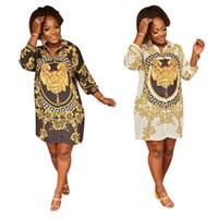 lose bluse kleid großhandel-Löwe druckte langes Hülsen-Kleid-lose beiläufige Sommer-reizvolle Kleid-Entwerfer-Frauen 3d Druck goldene Hemdbluse kleidet 1pc LJJA2309