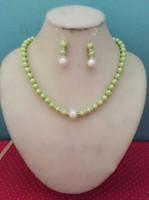 Wholesale sea green jewelry resale online - Women s Wedding MM Green South Sea Shell Pearl necklace earrings set Grade real silver jewelry
