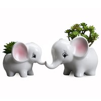 Wholesale ceramic white elephant online - European Creative Handmade Manual Grouting Meat Pot Modern Home Balcony Desktop Cartoon Elephant Ceramic Flower Pot Free DHL