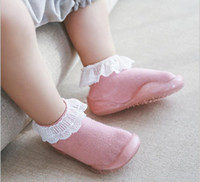 Wholesale princess socks for girls resale online - Baby Sock Shoes Newborn First Walkers Kids Non slip Shoes Baby Princess Lace Floor Socks Multicolor For age Kids