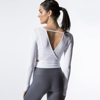 Wholesale fitness professional shirts resale online - 2018 Sexy Professional Gym Yoga T shirt Women s Dry Quick Running Sports Long Sleeve Fitness Jogging Exercises Cropped Tees Tops