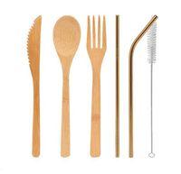ingrosso bar da pranzo in bambù-DHL Bamboo posate set 5 pezzi / set e 3 pz / set cucchiaio forchetta coltello pennello di paglia posate da tavola set casa da pranzo cucina bar strumento di cottura